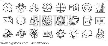 Set Of Education Icons, Such As Music Making, Pie Chart, Globe Icons. Group, Justice Scales, Chemist