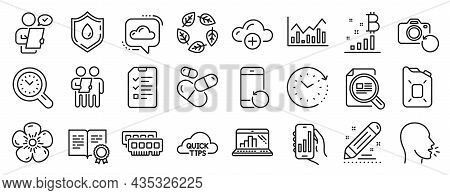 Set Of Science Icons, Such As Customer Survey, Interview, Infochart Icons. Time Management, Recovery
