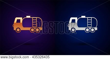 Gold And Silver Tanker Truck Icon Isolated On Black Background. Petroleum Tanker, Petrol Truck, Cist