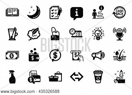 Vector Set Of Simple Icons Related To Moon Stars, Accounting Report And Survey Checklist Icons. Idea