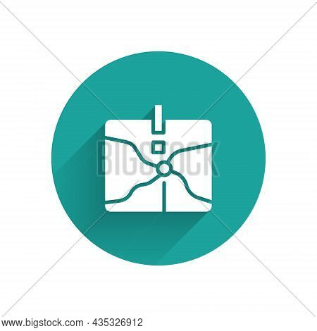 White Intersection Point Icon Isolated With Long Shadow Background. Green Circle Button. Vector