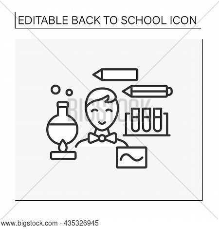 Chemistry Line Icon. Schoolboy Ready For School. Chemistry Lesson With Tubes, Chemical Reactions. Di