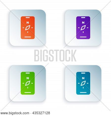 Color Compass Screen Apps On Smartphone For Navigation Icon Isolated On White Background. Applicatio