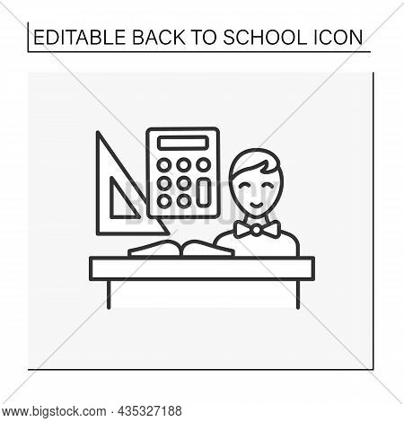 Schoolboy Line Icon. Back To School. Happy Student Counting, Having Math Lesson. Calculation. Educat