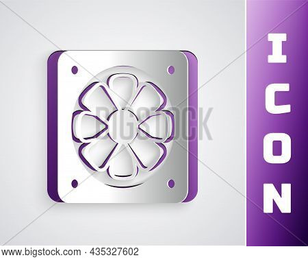 Paper Cut Computer Cooler Icon Isolated On Grey Background. Pc Hardware Fan. Paper Art Style. Vector