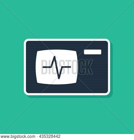 Blue Computer Monitor With Cardiogram Icon Isolated On Green Background. Monitoring Icon. Ecg Monito