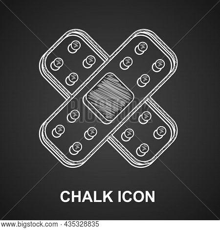 Chalk Crossed Bandage Plaster Icon Isolated On Black Background. Medical Plaster, Adhesive Bandage,