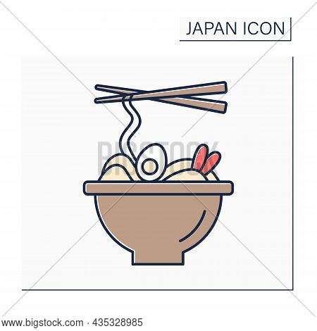 Ramen Color Icon. Japanese Cuisine With Wheat Noodles And Eggs. Fast Food. Traditional Dish. Japanes