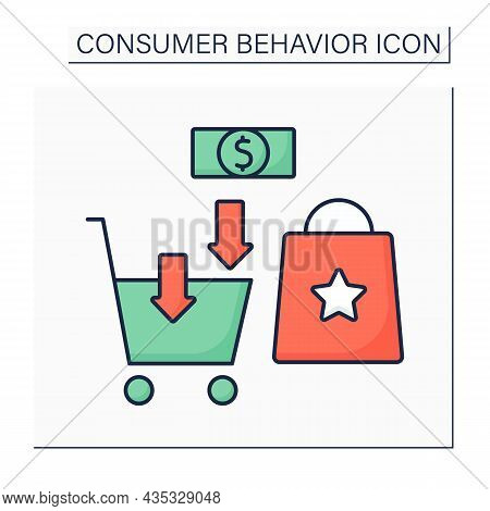 Purchase Color Icon. Buying Needed Goods. Shopping Cart. Consumer Behavior Concept. Isolated Vector