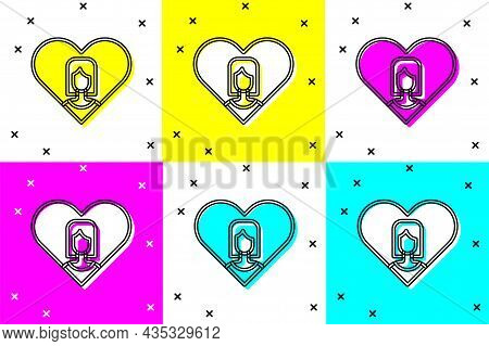 Set Heart With Female Icon Isolated On Color Background. Venus Symbol. The Symbol For A Female Organ