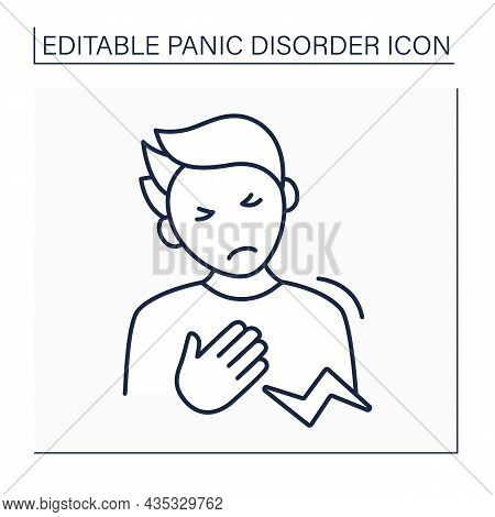 Chest Discomfort Line Icon.strain Or Spasm Of Intercostal Chest Wall Muscles. Acute Anxiety.panic Di
