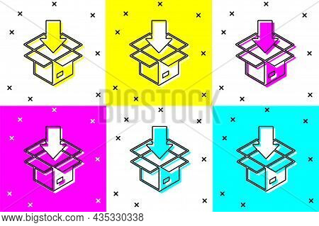 Set Carton Cardboard Box Icon Isolated On Color Background. Box, Package, Parcel Sign. Delivery And