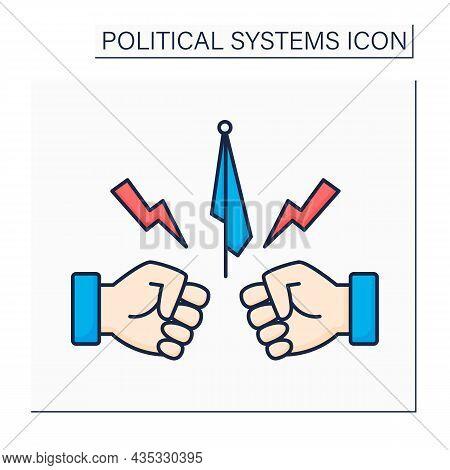 Opposition Color Icon.organized Politician Groups Opposed To Government.fight Between Politician Par