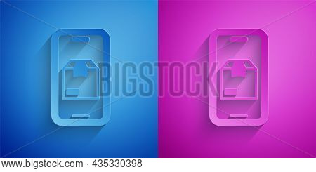 Paper Cut Mobile Smart Phone With App Delivery Tracking Icon Isolated On Blue And Purple Background.