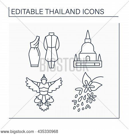 Thailand Line Icons Set. Traditional Thai Outfit, Pagoda, National Emblem, Golden Shower Flower. Tra