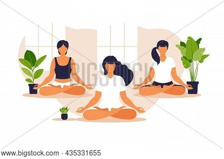 Yoga Group. Position Balance And Stretching. People Sitting Together In The Lotus Position, They Are