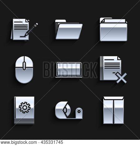 Set Laptop, Scotch, Envelope, Delete File Document, User Manual, Computer Mouse, Document Folder And