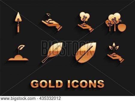 Set Leaf, Tree With Apple, Plant In Hand Of Environmental Protection, Sprout, Garden Trowel Spade Or