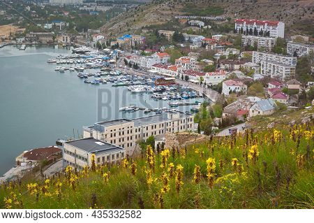 Balaclava Crimea 04 May 2020. Spring In The Crimea. View Of The City And The Bay With Ships. Beautif
