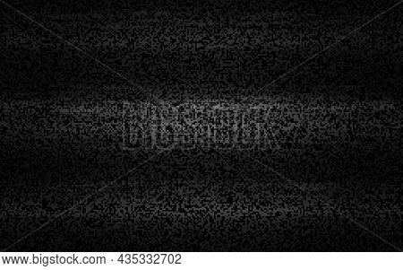 Glitch No Signal. Retro Tv Noise Effect. Old Video Error. White And Black Distortions. Analog Bad Si