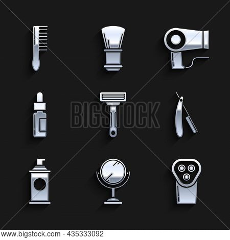 Set Shaving Razor, Hand Mirror, Electrical Hair Clipper Shaver, Straight, Gel Foam, Glass Bottle Wit