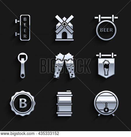 Set Glass Of Beer, Metal Keg, Wooden Barrel On Rack With Stopcock, Street Signboard Glass, Bottle Ca