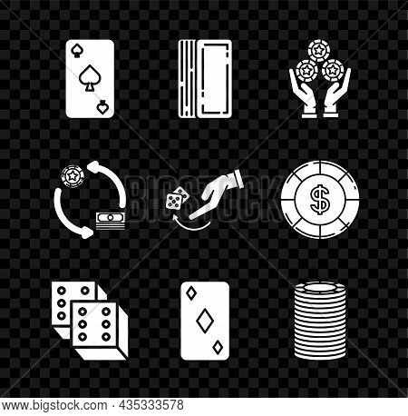 Set Playing Card With Spades Symbol, Deck Of Playing Cards, Hand Holding Casino Chips, Game Dice, Di