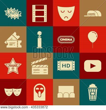 Set Popcorn In Cardboard Box, Play, Balloon With Ribbon, Drama Theatrical Mask, Trophy Golden Globe,