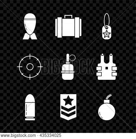 Set Aviation Bomb, Military Ammunition Box, Dog Tag, Bullet, Chevron, Bomb Ready To Explode, Target