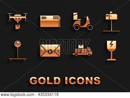 Set Envelope, Open Mail Box, Fragile Broken Glass Symbol, Delivery Truck With Cardboard Boxes, Scale