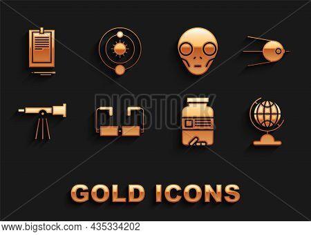 Set Glasses, Satellite, Earth Globe, Medicine Bottle And Pills, Telescope, Extraterrestrial Alien Fa
