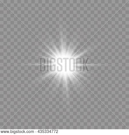 Star Burst With Light, White Sun Rays.