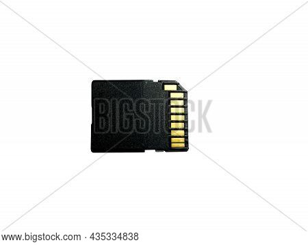 Memory Card With Gold Contacts On The Back Panel With A High-speed Uhs-i Bus Close-up On A White Iso