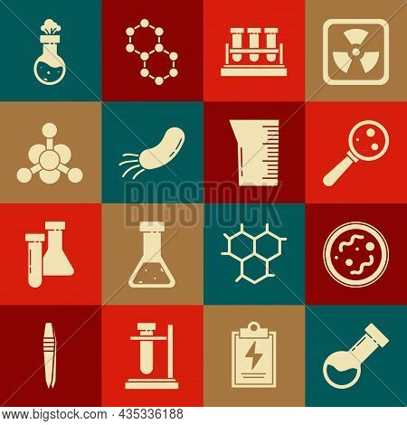 Set Test Tube And Flask Chemical, Bacteria, Microorganisms Under Magnifier, And Laboratory Glassware