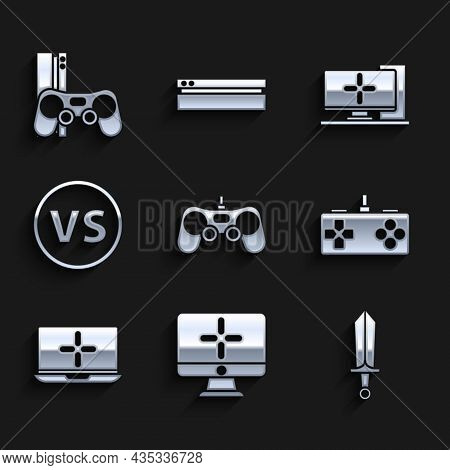 Set Gamepad, Computer Monitor, Sword For Game, Laptop, Vs Versus Battle, And Console With Joystick I