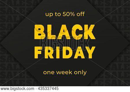 Black Friday Sale Banner. Colourful Text On Black Background. Super Sale For Header, Banner, Web,des