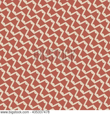 Vector Abstract Seamless Mesh Pattern. Illustration With Diagonal Wavy Lines And Zigzag Shapes. The