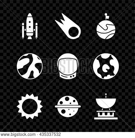 Set Space Shuttle And Rockets, Comet Falling Down Fast, Moon With Flag, Sun, Planet Saturn, Satellit