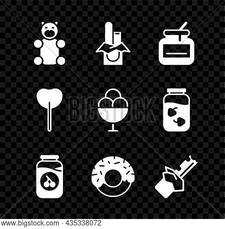 Set Jelly Bear Candy, Chocolate Bar, Jar Of Honey, Cherry Jam Jar, Donut, Bitten Chocolate, Lollipop