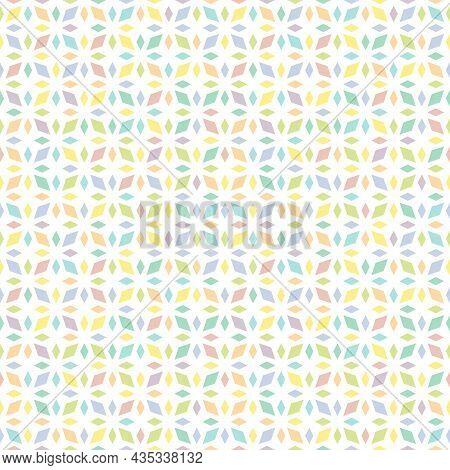 Geometric Funky Seamless Pattern. Rhombus Texture, Floral Lattice, Mesh, Diamonds. Abstract Traditio