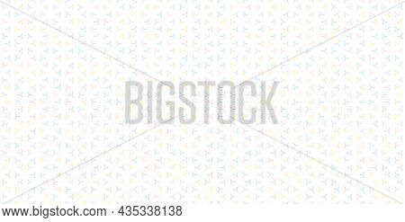 Vector Seamless Pattern With Small Colorful Geometric Shapes, Triangles On White Backdrop. Simple Ab