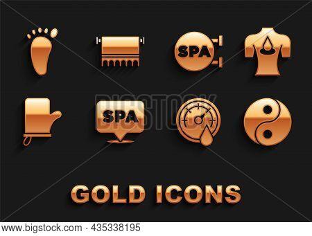 Set Spa Salon, Massage With Aroma Oils, Yin Yang, Sauna Thermometer, Mittens, Foot Massage And Towel