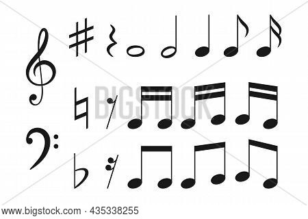 Vector Illustration Of Music Notation. Different Musical Symbols