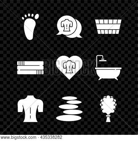 Set Foot Massage, Massage, Sauna Bucket, Stack Hot Stones, Broom, Towel Stack And Icon. Vector