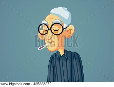 Sick Grandfather Having High Fever Vector Illustration