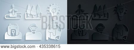 Set Face In Protective Mask, Light Bulb With Leaf, Polar Bear Head, Global Warming, Forest And Wind
