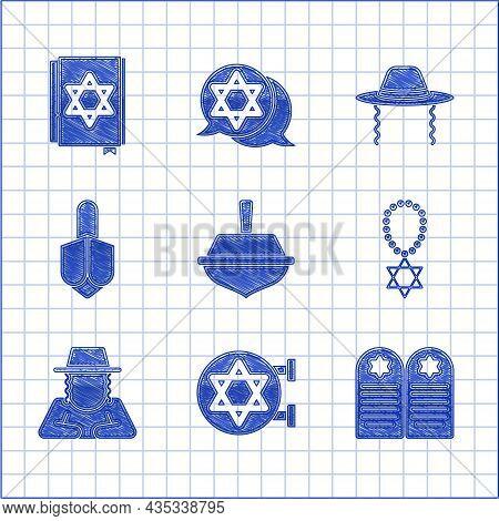 Set Hanukkah Dreidel, Jewish Synagogue, Tombstone With Star Of David, Star David Necklace Chain, Ort