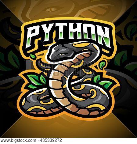 Python Esport Mascot Logo Design With Text