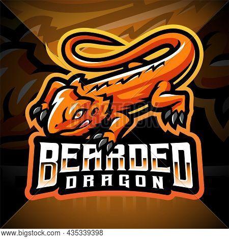 Bearded Dragon Esport Mascot Logo With Text