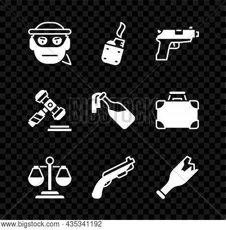 Set Bandit, Lighter, Pistol Or Gun, Scales Of Justice, Police Shotgun, Broken Bottle As Weapon, Judg
